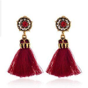 Jewelry - Red Tassel Earrings with Rhinestones